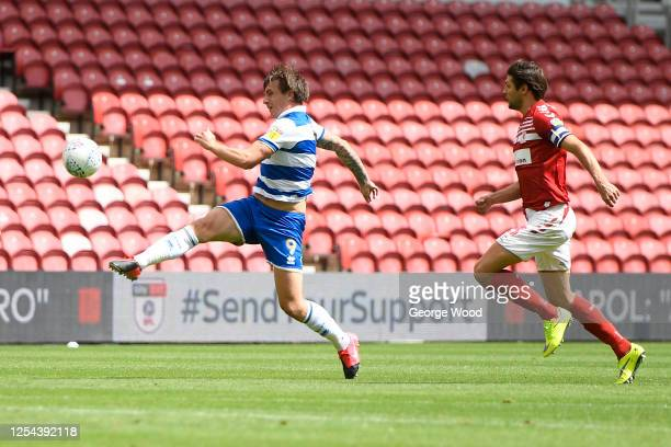 Jordan Hugill of Queens Park Rangers scores his sides first goal during the Sky Bet Championship match between Middlesbrough and Queens Park Rangers...