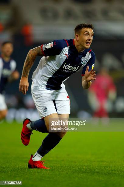 Jordan Hugill of West Bromwich Albion looks on during the Sky Bet Championship match between West Bromwich Albion and Derby County at The Hawthorns...