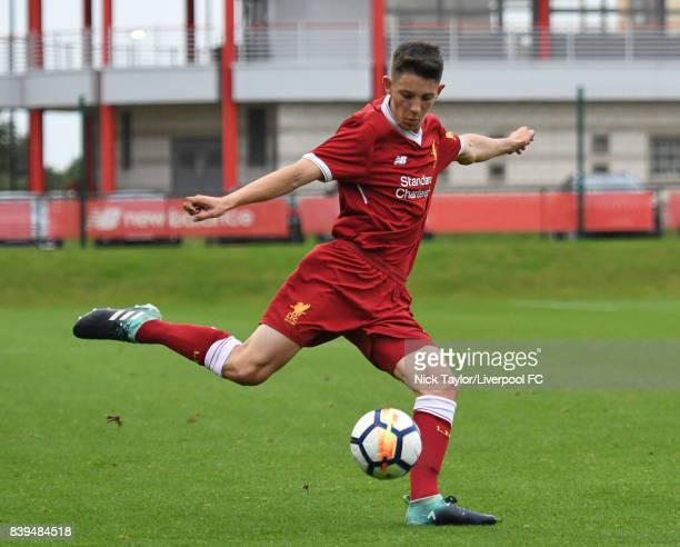 Jordan Hunter of Liverpool during the Liverpool v Newcastle United U18 Premier League game at The Kirkby Academy on August 25 2017 in Kirkby England