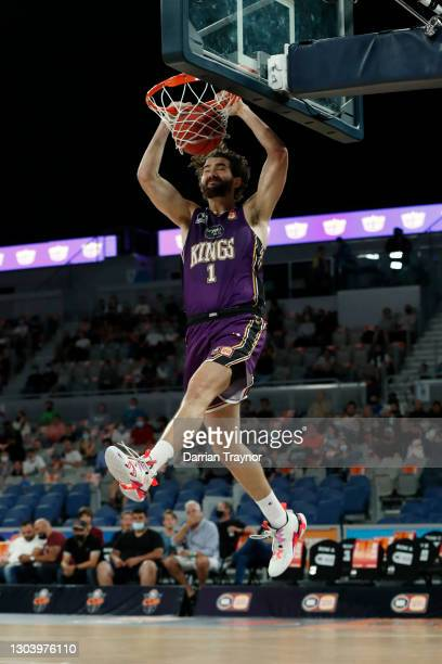 Jordan Hunter of the Kings dunks during the NBL Cup match between the Sydney Kings and the New Zealand Breakers at John Cain Arena on February 25 in...