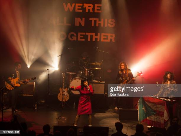Jordan Hyde David Jamison Alynda Seggara and Caitlin Gray of Hurray for the Riff Raff perform live on stage at KOKO on October 17 2017 in London...