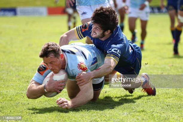 Jordan Hyland of Northland scores a try during the round 10 Mitre 10 Cup match between Northland and Otago at Semenoff Stadium on October 13 2019 in...