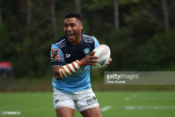 Jordan Hyland of Northland scores a try during the round 3 Mitre 10 Cup match between Counties Manukau and Northland at Navigation Homes Stadium on...