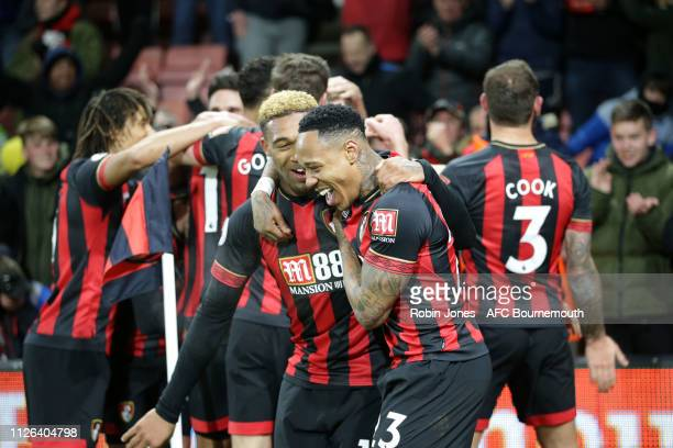 Jordan Ibe and Nathaniel Clyne of Bournemouth celebrate after Charlie Daniels scores a goal to make it 40 during the Premier League match between AFC...