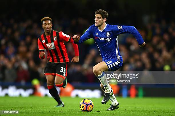 Jordan Ibe of AFC Bournemouth chases Marcos Alonso of Chelsea during the Premier League match between Chelsea and AFC Bournemouth at Stamford Bridge...