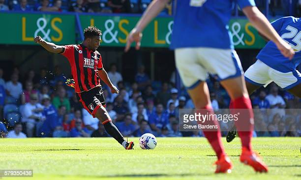 Jordan Ibe of AFC Bournemouth scores a goal during a PreSeason Friendly match between Portsmouth FC and AFC Bournemouth at Fratton Park on July 23...
