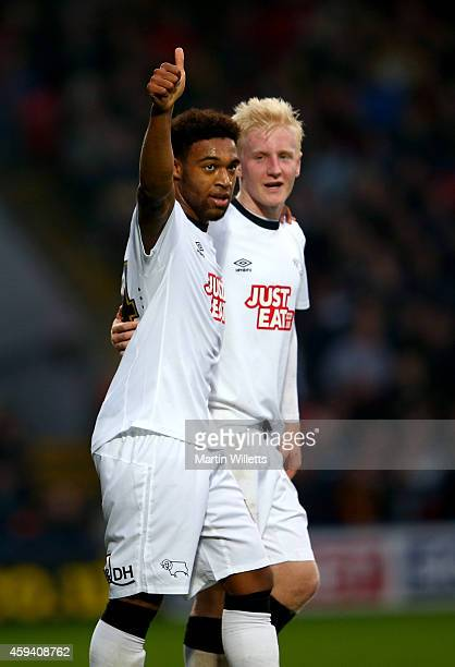 Jordan Ibe of Derby County celebrates with Will Hughes after scoring the opening goal during the Sky Bet Championship match between Watford and Derby...