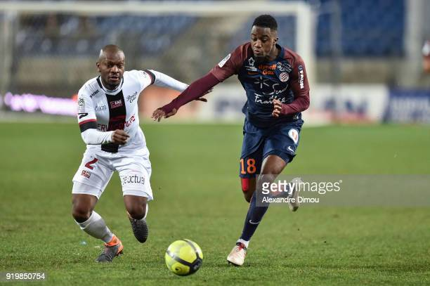 Jordan Ikoko of Guingamp and Isaac Mbenza of Montpellier during the Ligue 1 match between Montpellier Herault SC and EA Guingamp at Stade de la...