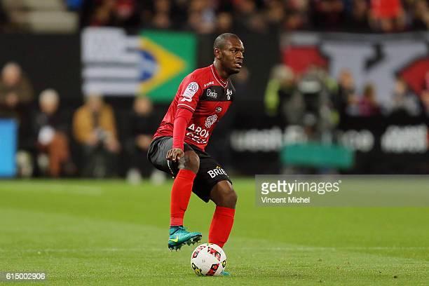 Jordan Ikoko of Guingamp during the Ligue 1 match between EA Guingamp and Lille OCS at Stade du Roudourou on October 15, 2016 in Guingamp, France.