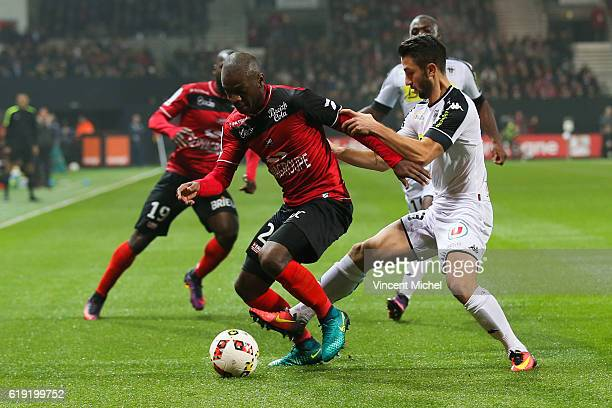Jordan Ikoko of Guingamp during the Ligue 1 match between Guingamp and Angers at Stade du Roudourou on October 29 2016 in Guingamp France