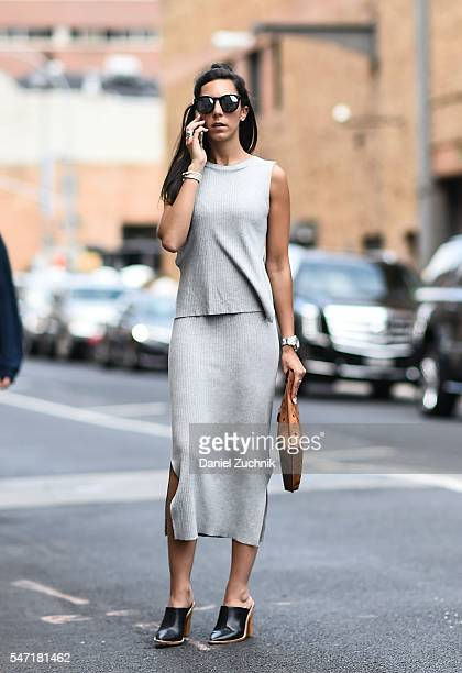 Jordan is seen outside the Rochambeau show wearing a Club Monaco top and skirt Tibi shoes Illesteva sunglasses with an MCM bag during New York...