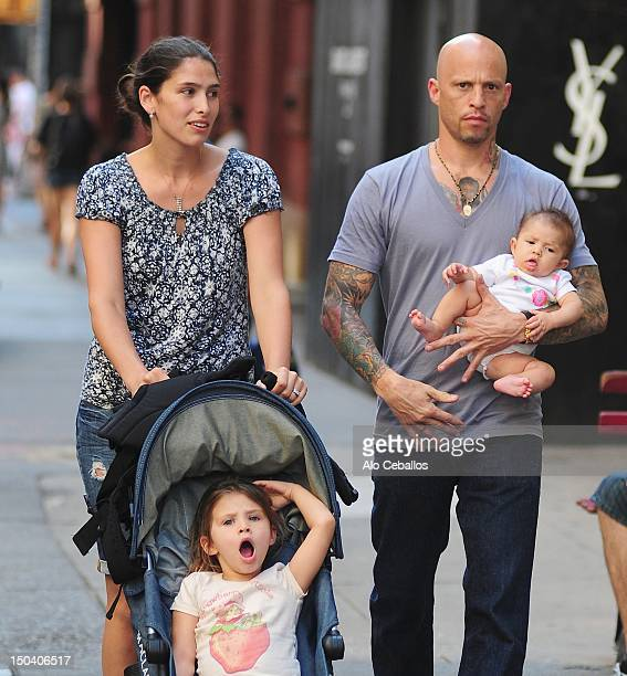 Jordan James Ami James and baby daughter and elder daughter Shayli James are seen in Soho on August 16 2012 in New York City