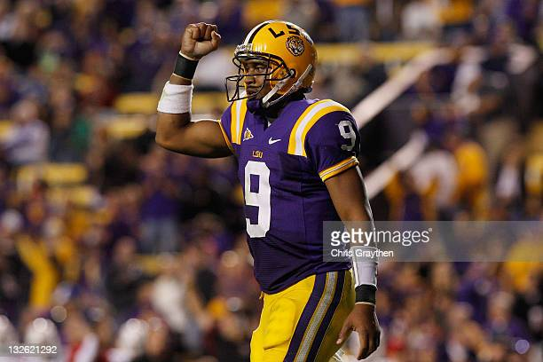 Jordan Jefferson of the Louisiana State University Tigers celebrates after throwing a touchdown pass against the Western Kentucky Hilltoppers at...
