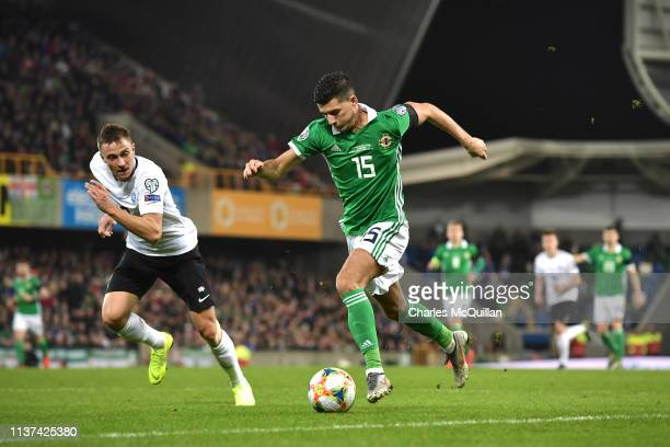 Jordan Jones of Northern Ireland runs with the ball during the 2020 UEFA European Championships group C qualifying match between Northern Ireland and...