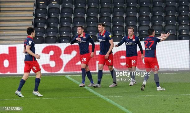 Jordan Jones of Sunderland celebrates after he scores the first goal the Sky Bet League One match between Hull City and Sunderland at the Kcom...