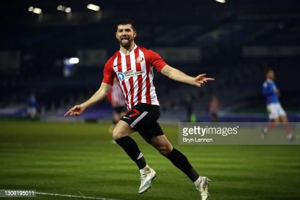 Jordan Jones of Sunderland celebrates scoring their second goal during the Sky Bet League One match between Portsmouth and Sunderland at Fratton Park...