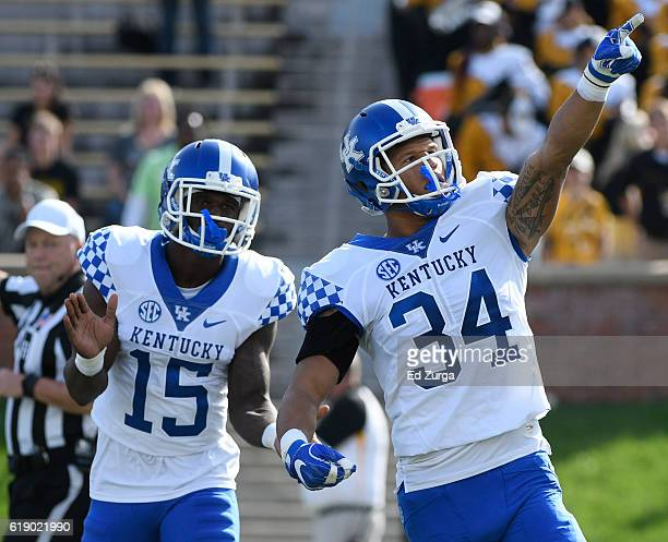 Jordan Jones of the Kentucky Wildcats celebrates a tackle against the Missouri Tigers in the first quarter at Memorial Stadium on October 29, 2016 in...