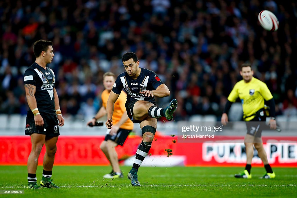 Jordan Kahu of New Zealand kicks a drop-goal during the International Rugby League Test Series match between England and New Zealand at the Olympic Stadium on November 7, 2015 in London, England.