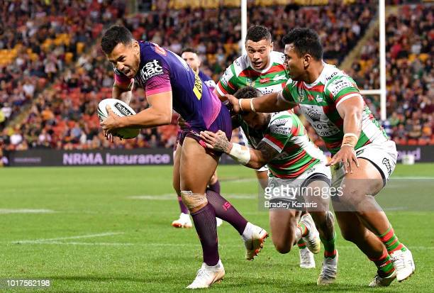 Jordan Kahu of the Broncos breaks away from the defence during the round 23 NRL match between the Brisbane Broncos and the South Sydney Rabbitohs at...