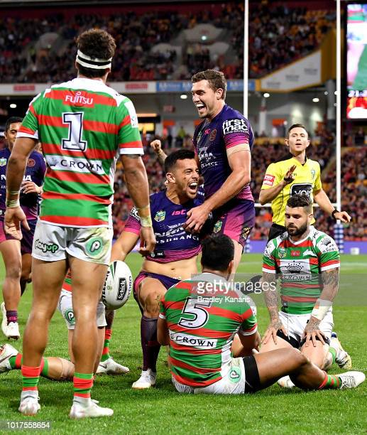 Jordan Kahu of the Broncos celebrates but the try is disallowed by the video referee during the round 23 NRL match between the Brisbane Broncos and...