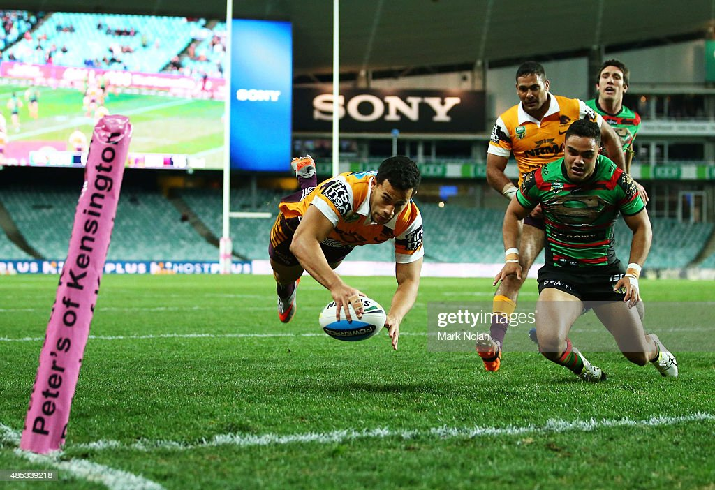 Jordan Kahu of the Broncos dives to score a try during the round 25 NRL match between the South Sydney Rabbitohs and the Brisbane Broncos at Allianz Stadium on August 27, 2015 in Sydney, Australia.