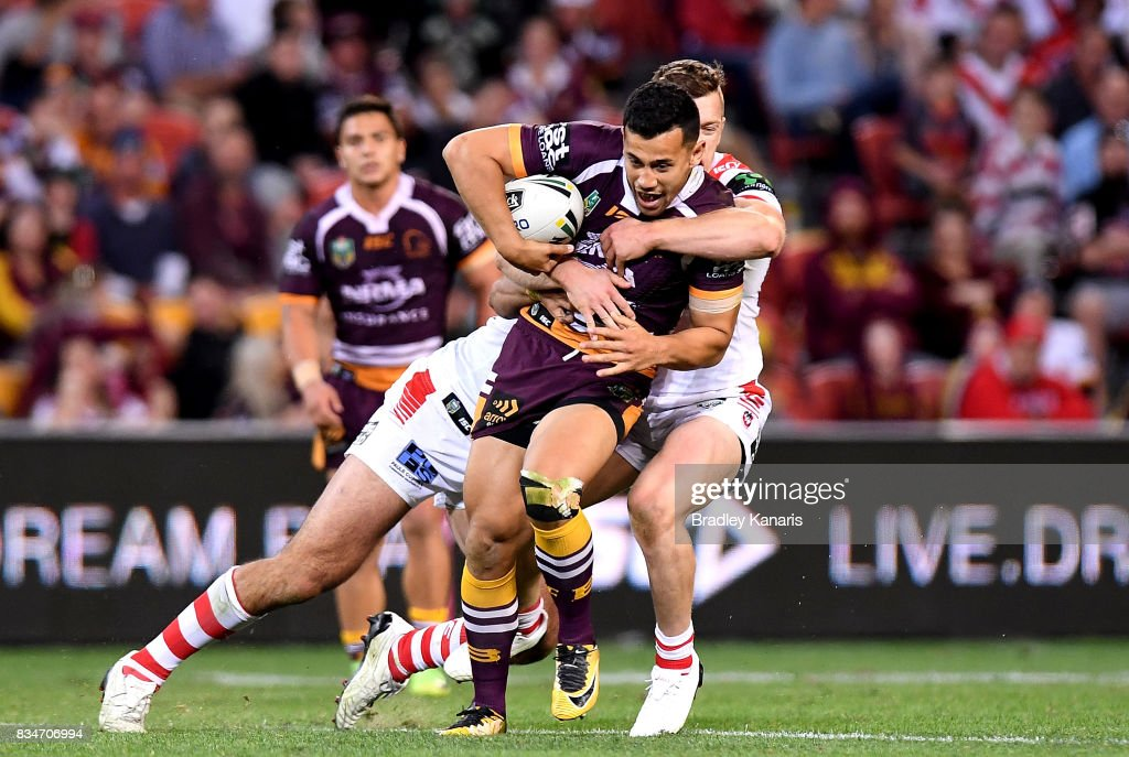 Jordan Kahu of the Broncos is tackled during the round 24 NRL match between the Brisbane Broncos and the St George Illawarra Dragons at Suncorp Stadium on August 18, 2017 in Brisbane, Australia.