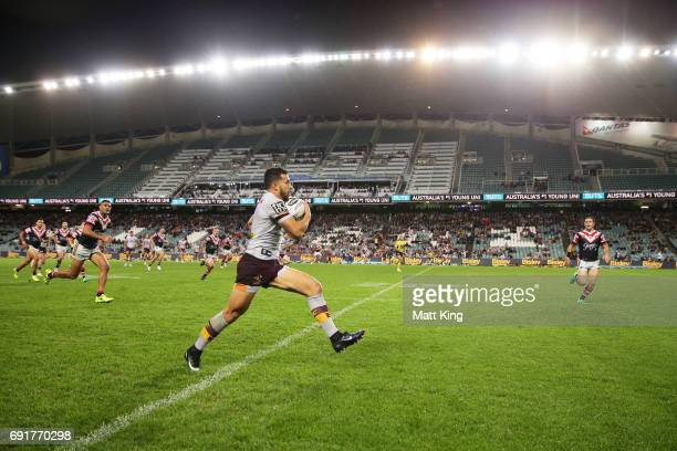Jordan Kahu of the Broncos makes a break down the sideline during the round 13 NRL match between the Sydney Roosters and the Brisbane Broncos at...