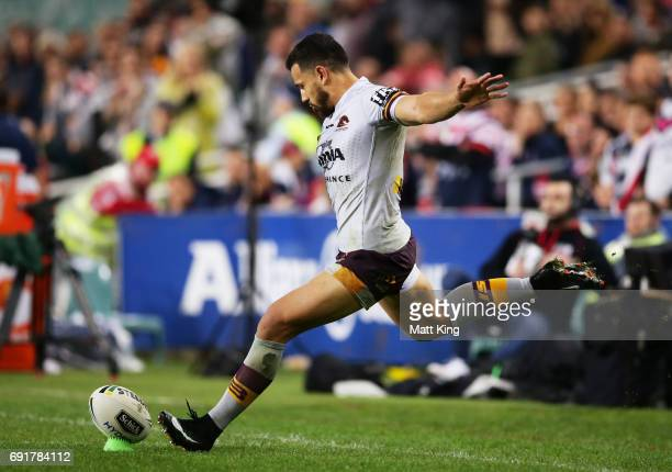 Jordan Kahu of the Broncos misses a conversion attempt that would have levelled the scores in the final minutes during the round 13 NRL match between...