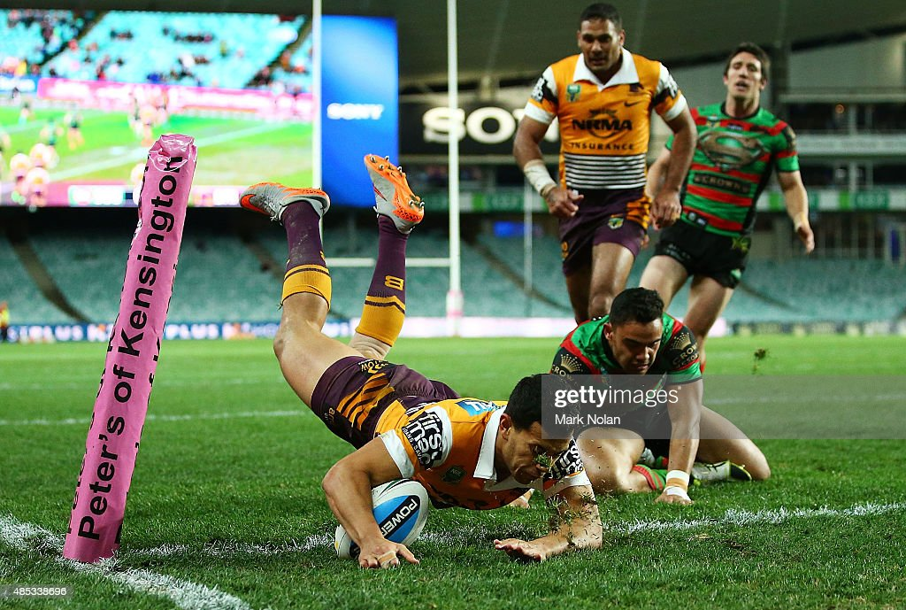 Jordan Kahu of the Broncos scores a try during the round 25 NRL match between the South Sydney Rabbitohs and the Brisbane Broncos at Allianz Stadium on August 27, 2015 in Sydney, Australia.