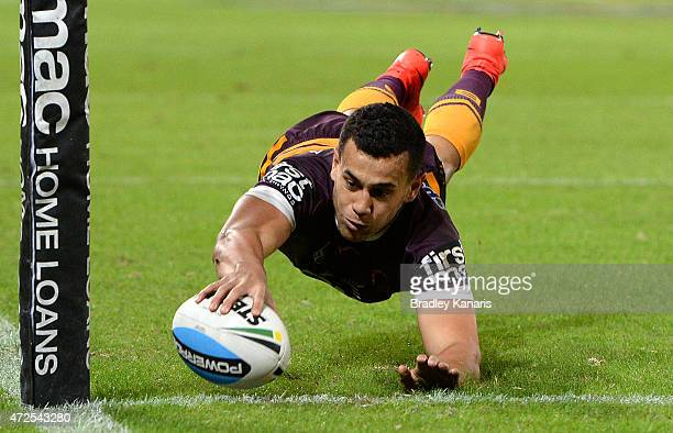 Jordan Kahu of the Broncos scores a try during the round nine NRL match between the Brisbane Broncos and the Penrith Panthers at Suncorp Stadium on...