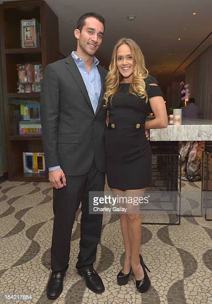 Jordan Kaye and VP of Strategic Partnerships GenArt Katie May attend GenArt's 14th Annual Fresh Faces In Fashion Intimate Dinner at Andaz on October...