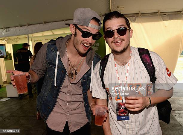Jordan Kelley and Jason Huber of Cherub pose backstage at the 2014 Budweiser Made In America Festival at Benjamin Franklin Parkway on August 30 2014...