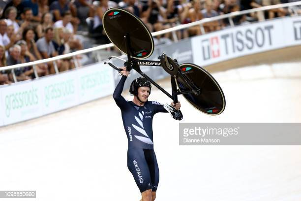 Jordan Kerby of New Zealand celebrates finishing first in the Men's Team Sprint during the 2018 UCI Track World Cup on January 18 2019 in Cambridge...