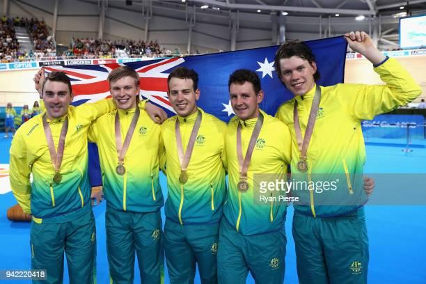 Jordan Kerby Sam Welsford Kelland O'Brien Leigh Howard and Alex Porter of Australia celebrate during the medal ceremony for the Men's 4000m Team...