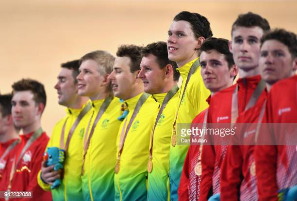Jordan Kerby Sam Welsford Kelland O'Brien Leigh Howard and Alex Porter of Australia look on during the medal ceremony for the Men's 4000m Team...