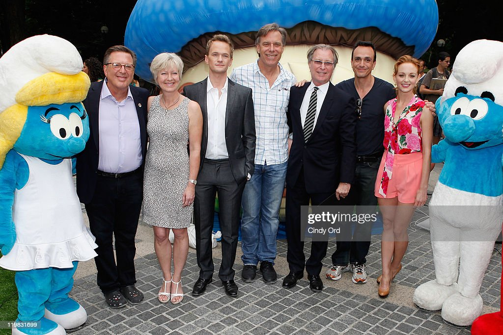 Jordan Kerner, Veronique Culliford, Neil Patrick Harris, Raja Gosnell, George Fertitta, Hank Azaria, and Jayma Mays attends the New York Smurf Week kick off ceremony at Smurfs Village at Merchant's Gate, Central Park on July 25, 2011 in New York City.