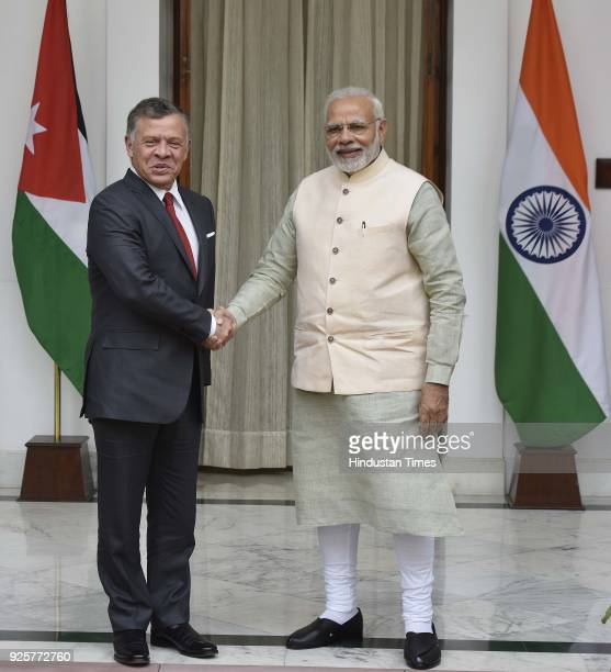 Jordan King Abdullah II Ibn Al Hussein with Prime Minister Narendra Modi before delegation level talks at Hyderabad House on March 1 2018 in New...