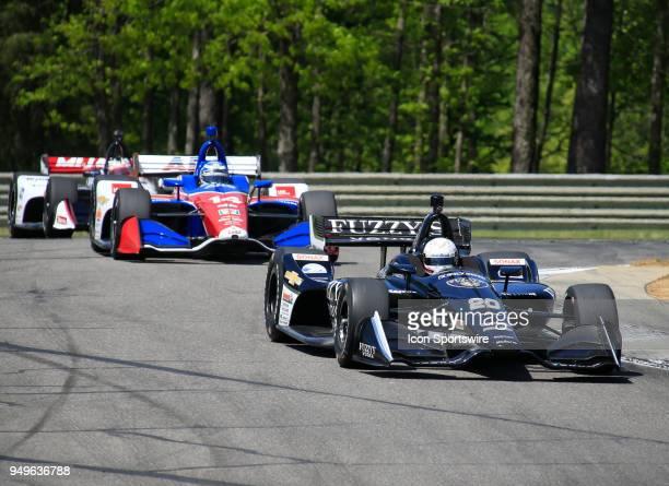 Jordan King Ed Carpenter Racing Chevrolet leads Tony Kanaan AJ Foyt Enterprises Chevrolet during third practice for the 9th annual Honda Indy Grand...