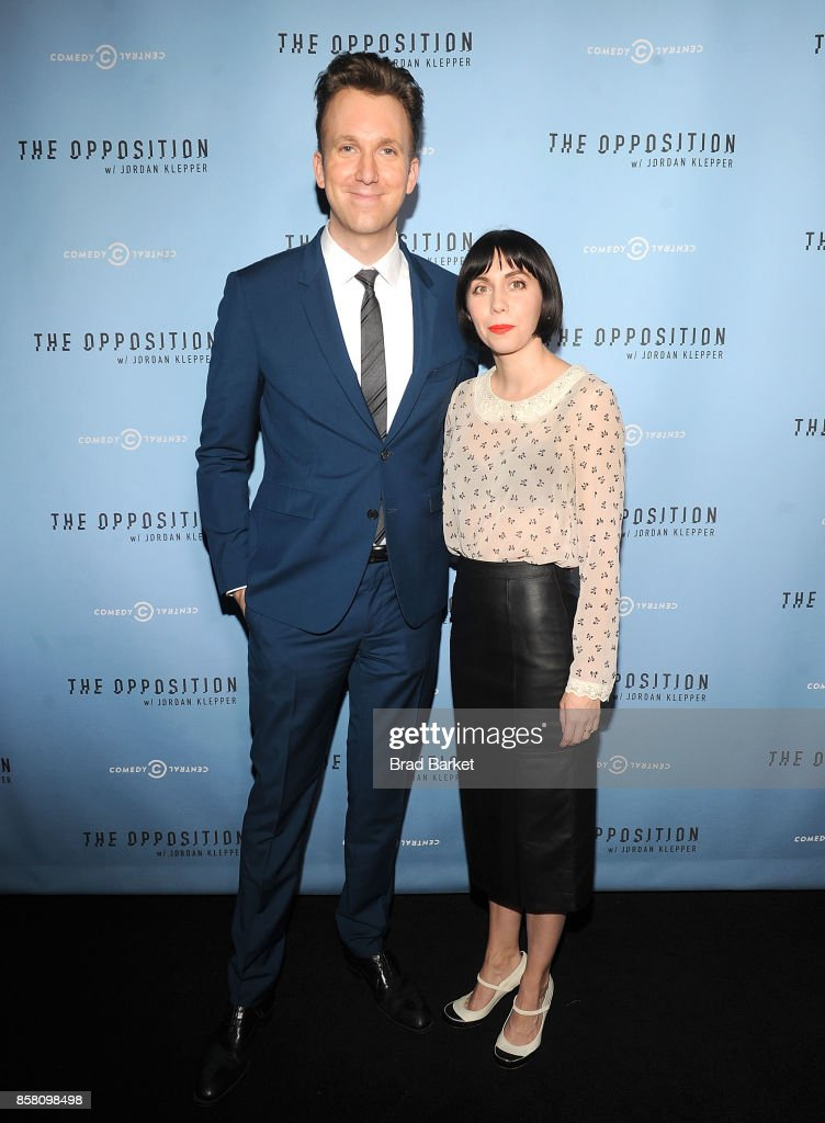 Jordan Klepper (L) and Laura Grey attend Comedy Central's 'The Opposition w/ Jordan Klepper' premiere party at The Skylark on October 5, 2017 in New York City.