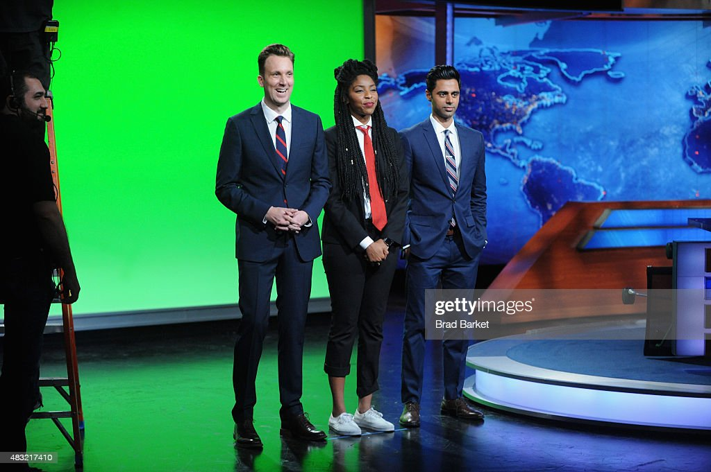 Jordan Klepper, Jessica Williams and Hasan Minhaj appear on 'The Daily Show with Jon Stewart' #JonVoyage on August 6, 2015 in New York City.