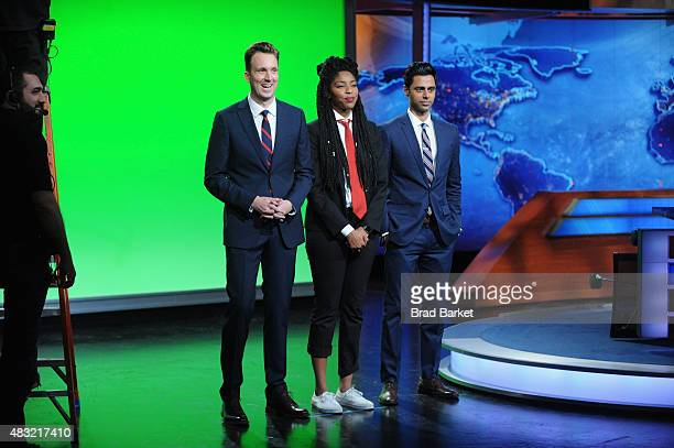 """Jordan Klepper, Jessica Williams and Hasan Minhaj appear on """"The Daily Show with Jon Stewart"""" #JonVoyage on August 6, 2015 in New York City."""