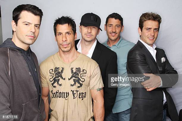 Jordan Knight Danny Wood Donnie Wahlberg Jon Knight and Joey Mcintyre of New Kids On The Block attend a Press Conference for European reunion tour...