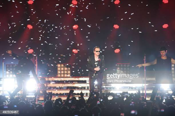 Jordan Knight Donnie Wahlberg and Joey McIntyre of American Boygroup New Kids On The Block perform during their 'Let's get Intimate Tour 2014' at the...