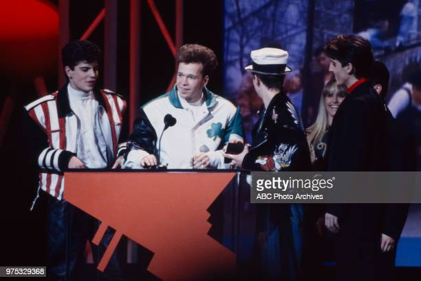 Jordan Knight Donnie Wahlberg Joey McIntyre Jonathan Knight New Kids On The Block receiving award on the 17th Annual American Music Awards Shrine...