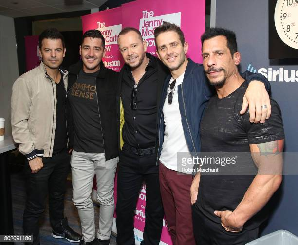 Jordan Knight Jonathan Knight Donnie Wahlberg Joey McIntyre and Danny Wood of New Kids on the Block visit 'The Jenny McCarthy Show' with SiriusXM...