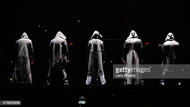 Jordan Knight Jonathan Knight Joey McIntyre Danny Wood and Donnie Wahlberg of New Kids On The Block perform at BBT Center on June 4 2015 in Sunrise...