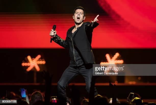 Jordan Knight of New Kids On The Block performs during 'The Total Package Tour' at Wells Fargo Center on June 24 2017 in Philadelphia Pennsylvania