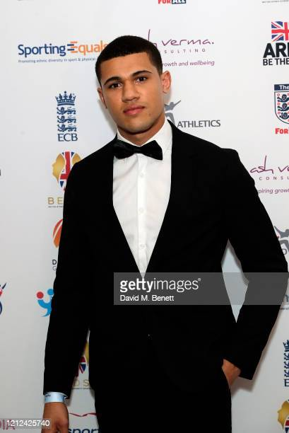 Jordan Kwela attends the British Ethnic Diversity Sports Awards 2020 at the Hilton Park Lane on March 14 2020 in London England