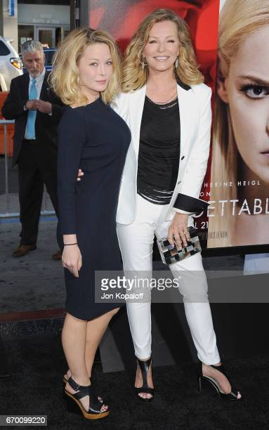 Jordan Ladd and mom Cheryl Ladd arrive at the Los Angeles Premiere Unforgettable at TCL Chinese Theatre on April 18 2017 in Hollywood California