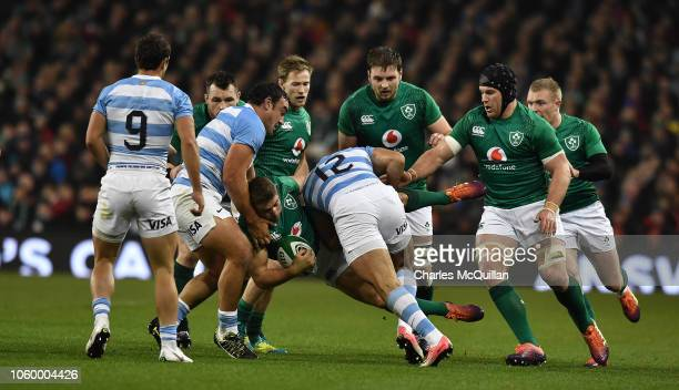 Jordan Larmour of Ireland and Jeronimo De La Fuente of Argentina during the International Friendly match between Ireland and Argentina at Aviva...